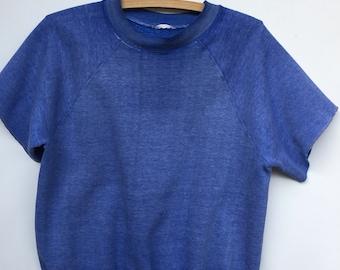 Vintage 1970s / 1980s / Short Sleeve Sweatshirt / Thin & Faded