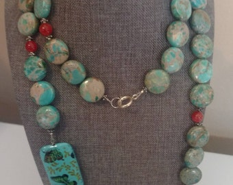 """Long 39"""" Turquoise Agate Butterfly Necklace with Red highlights"""
