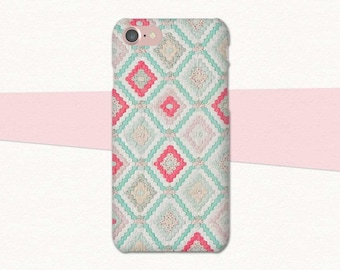 Pastel Quilt Pattern Phone Case, Quilt Phone Case, Quilt iPhone Case, 6 6S 7 Plus, Quilt Phone Cover, Gift for Quilters, Quilting Gift, Pink
