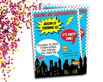 Superhero Birthday Party Invitation, Calling All Superheroes Invite Printable, Personalized Comic Birthday