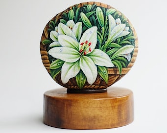 White lily Flower stone painting, Original painting, Rock art, Unique, Acrylic colours, Special gift for special one.