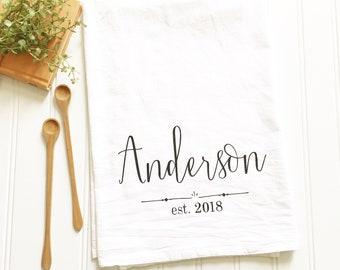 custom kitchen towel personalized tea towel wedding tea towel gift for newlyweds flour sack tea towel kitchen decor housewarming gift