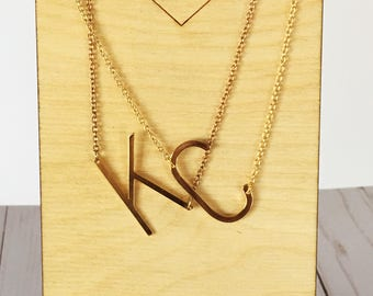 Gold Initial Necklace | Large Initial Necklace | Oversized Letter | Personalized Necklace | Gold Jewelry