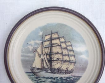 Tiny Purbeck vintage plate with a Tall ship on it. 4.5in wide.