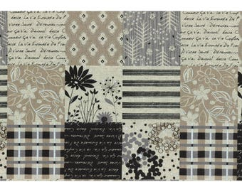 Lecre Collection 2016 from Lecien Fabrics - Full or Half Yard Cotton/Linen Tan Black Taupe French Patchwork Canvas - Floral