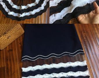 "3 meter 35cm 13.77"" wide black ivory ruffled pleated mesh chiffon tapes lace trim ribbon S5Q150HB17062903  free ship"