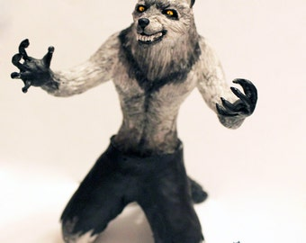 Werewolf figure sculpture wolf sculpture white wolf terrible halloween fear figurine statuette furrie furry gift fullmoon handmade Halloween