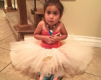 Moana Inspired Tutu Dress Plus Matching Bow.  Size 2-3 T Ready To Ship!