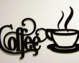 """14"""" x 7"""" Bistro Coffee Sign with Mug- Metal Wall Decor Black or Unfinished Kitchen Pantry"""
