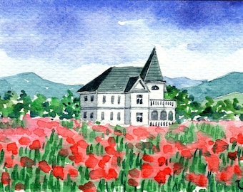 ACEO Original Watercolor Painting-Colorful Spring Landscape/Flowers Field and Country House/ATC