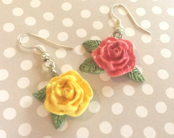 Hand Painted Rose Earring Set