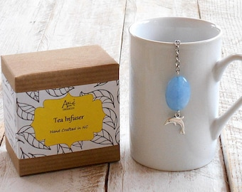 Dolphin Tea Infuser, Blue Jade, Real Stone Bead, Gift for Him, Gift for Her, Inner Strength, Protector, Peace and Harmony, Under 10 Dollars
