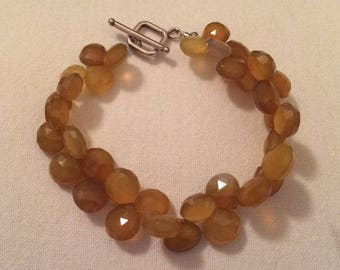 OOAK Handcrafted Faceted Briolette Amber Chalcedony Bracelet