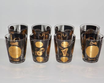 Music drinking glasses,big band drinkware,on the rocks,black gold,tumblers,set of 8,barware,8oz glasses,musical, glassware,musician gift