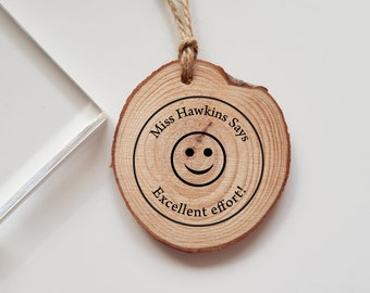 Personalised Teacher Smiling Smiley Face Rubber Stamp Says Great Job Marking Teacher Gift
