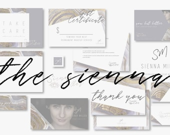 THE SIENNA Bohemian Artsy Microblading Pmu Eyelash Extension Branding Kit Including Logo, Business Card, Aftercare Card, and MORE