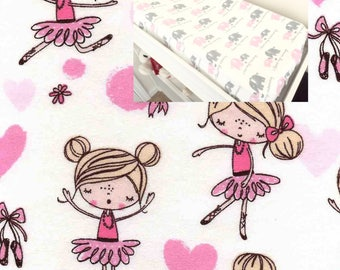 Flannel Ballerina Changing Pad Cover Contoured Changing Pad Cover 100% Cotton  Flannel Modern Nursery Baby Boy Girl Changing Pad Covering