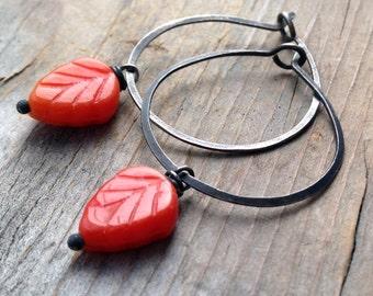 Orange Leaf Hoop Earrings Oxidized Sterling Metalworked Woodland Nature Inspired Fall Fashion Autumn Leaf Earrings