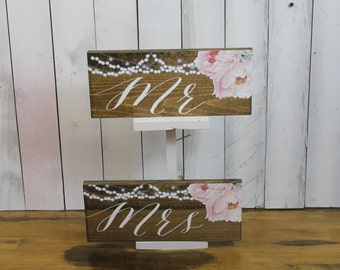 Mr and Mrs/Chair Signs/Flowers/Peonies/String Light/Watercolor/Personalized/Wood Sign/Reception Sign/Wedding Sign/Pink/Stained Wood