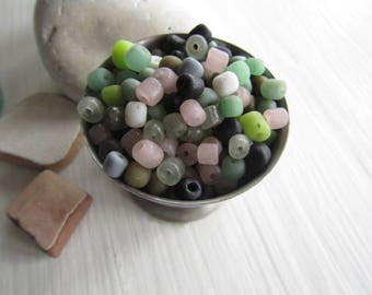 small matte mix seed bead, Destash no4 , rustic ethnic irregular barrel tube spacer, New Indo-pacific 3 to 6 mm / 25 grams mix-1