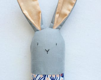 Gray and Floral Bunny Rattle - Soft Baby Toy