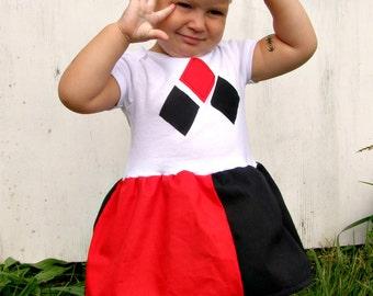 Harley Quinn Onesie dress baby or toddler layette kawaii Cosplay Costume