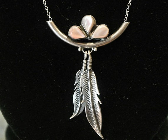 Mother of Pearl Pink Pendant / Sterling Silver Necklace / Double Feather / Native American