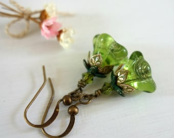 Peridot Earrings - Olivine Earrings - August Birthday - August Birthstone - Birthday Gift - Small Earrings - Glass Earrings - Green Earrings