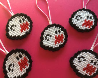 Hand Sewn Mario Boo Ghost Inspired Yarn Ornament