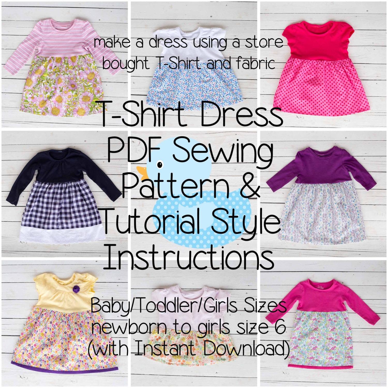 T shirt dress pdf sewing pattern tutorial style instructions zoom jeuxipadfo Image collections