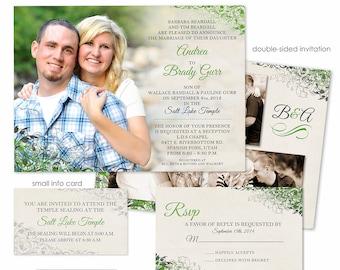 Photoshop Template - Romantic Vintage Wedding Invitation - Photo Card WA070