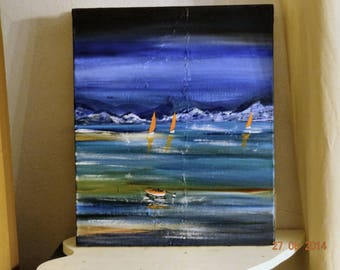 acrylic painting on canvas blue tone