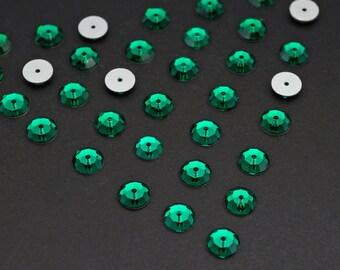 36 pcs vintage crystal sequin beads, Swarovski flat backs emerald art 3000 6mm