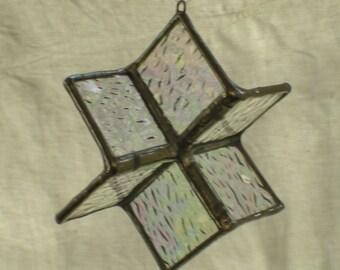 3-D Irridesccent Glass Star Snowflake Ornament Stained Glass Suncatcher