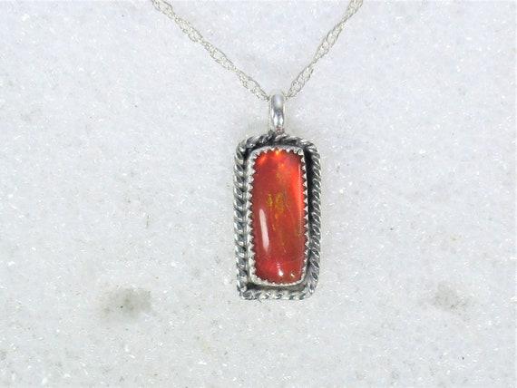 Genuine Ethiopian opal handmade sterling silver pendant necklace - opal jeweley- fire opal - natural opal