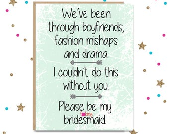 Mature Be My Bridesmaid // Funny Bridesmaid Card for Fun, Silly, Wonderful, Known for Far Too Long Best Friend // Be in my Wedding Party