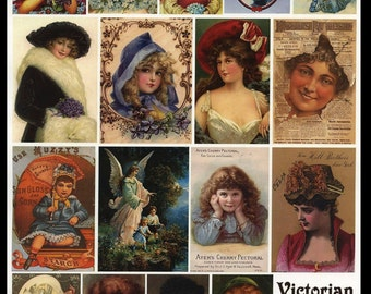Victorian Scraps - Collage Sheet - Collage, Altered Art, Visual Journals, ATCs, Decoupage