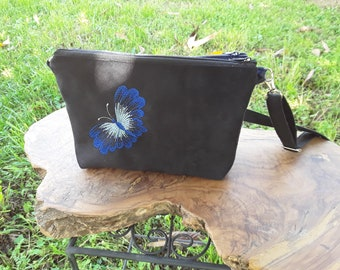 Double shoulder, two Pocket shoulder bag strap, Black Suede bag and how blue jeans fabric, embroidered Butterfly pouch