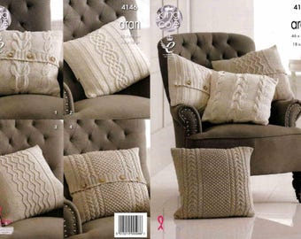 King Cole Knitting Pattern 4146~Four Cabled Cushions~Aran~18 x 18""