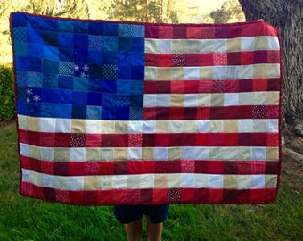 AMERICAN FLAG QUILT / red white & blue / stars and stripes / Americana - handmade