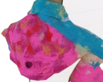 Wet Felted Scarf Blue and Rose; OOAK; Gift for Her; Woman's Scarf; Birthday Gift