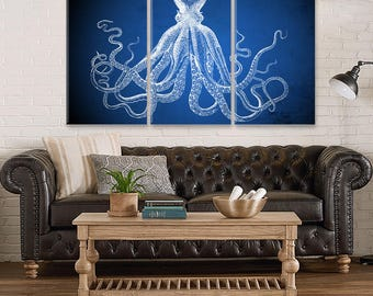 Captivating Navy Blue Octopus, Octopus Canvas Decor, Large Canvas Wall Decor, Octopus  Wall Art, Home Gift, Office Decor, Living Room Decor, Octopus Art