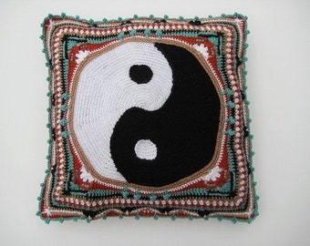Yin Yang Pillow Cover PDF CROCHET PATTERN Cushion Cover  Overlay Crochet Tapestry Mandala Home Deco Zen