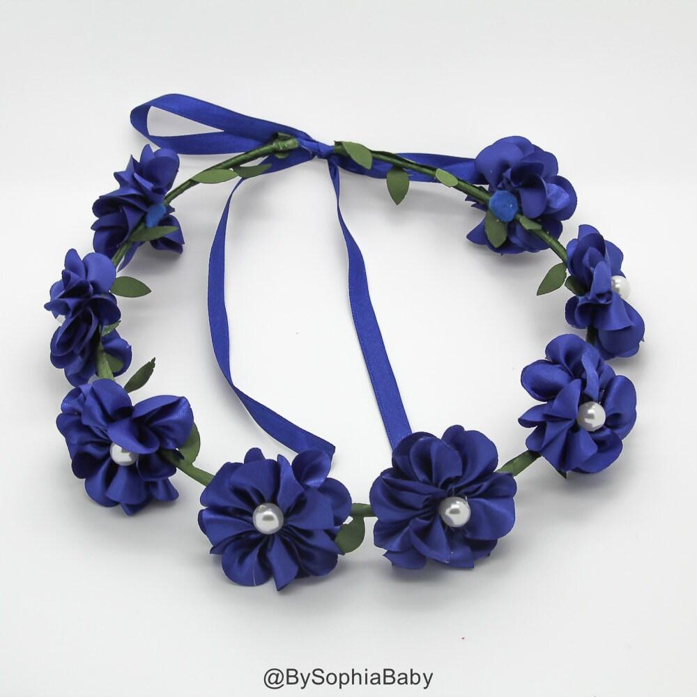 Baby flower crown toddler flower crown royal blue flower zoom izmirmasajfo Gallery