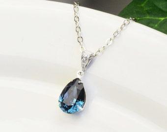 Navy Blue Necklace - Swarovski Necklace for Bridesmaids - Sapphire Necklace Silver - Bridesmaids Jewelry - Wedding Jewelry - Bridal Jewelry