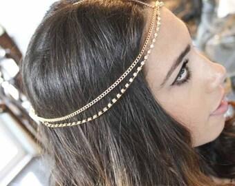 Gold Rhinestone Headpiece, Gypsy Head Chain, Gold Boho Head Chain, Bohemian headpiece, Chain Link Headband,Festive Jewelry,Bridal Hair Piece