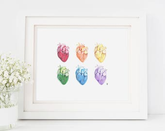 Heart print, anatomical heart illustration, anatomical heart art, human heart art, human heart print, rainbow hearts, science art, sciart