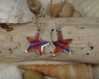 Star  Jeweltone Resin Mosaic Earrings
