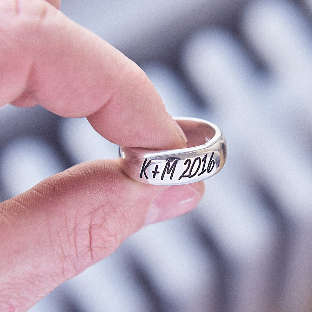 Personalised Mens or Womens Silver Ring deeply engraved in a