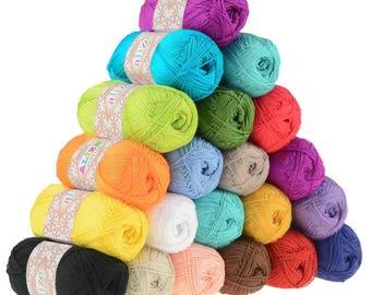 Silk effect Alize Forever, microfiber acrylic yarn, summer extra soft yarn, crochet dress / top yarn, choose color ultra fine yarn lace yarn